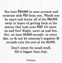 Memes, Altered, and All of The: You have $86400 in your account and  someone stole $10 from you. Would you  be upset and throw all of the $86390  away in hopes of getting back at the  person that took your $10 r move  on and live? Right, move on and live.  See, we have 86400 seconds in every  day, so do not let someone's negative 10  seconds ruin the rest of the 86390.  Don't sweat the small stuff,  life is bigger than that.  Fuckology Don't let someone's dumb comment or stupid statement ruin your day. Don't let things or people or anything alter your day. Yes there will be days when life isn't great but you don't have to allow it to take away who you are. Live happily.