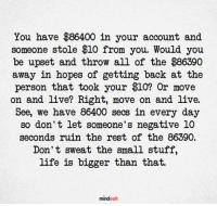Life, Memes, and Live: You have $86400 in your account and  someone stole $10 from you. Would you  be upset and throw all of the $86390  away in hopes of getting back at the  person that took your $10? Or move  on and live? Right, move on and live.  See, we have 86400 secs in every day  so don't let someone's negative 10  seconds ruin the rest of the 86390.  Don' t sweat the small stuff,  life is bigger than that.  mindwaft