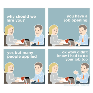 meirl: you have a  job opening  why should we  hire you?  ok wow didn't  know I had to do  yes but many  people applied  your job too  @NATHANWPYLE / BUZZFEED meirl