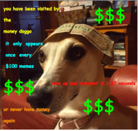 Anaconda, Memes, and Money: you have been visited b  the  money doggo  it only appears  once every  $100 memes  vote up and comment in 1.37 seconds  or never have  money  again <p>$$$$$$</p>