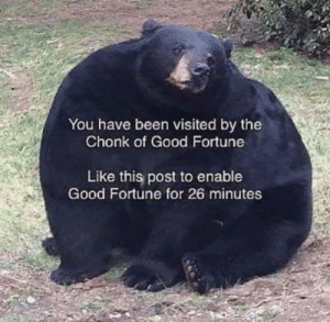 instagram.com/amphetameme_pt2: You have been visited by the  Chonk of Good Fortune  Like this post to enable  Good Fortune for 26 minutes instagram.com/amphetameme_pt2