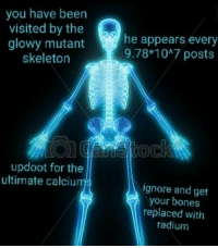 Bones, Irl, and Me IRL: you have been  visited by the  glowy mutant  skeleton  he appears every  9.78*1047 posts  updoot for the  ultimate calciu  ignore and get  your bones  replaced with  radium me irl