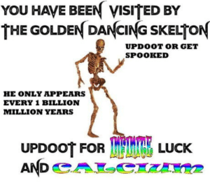 Doot doot spoopy time: YOU HAVE BEEN VISITED BY  THE GOLDEN DANCING SKELTON  UPDOOT OR GET  SPOOKED  HE ONLY APPEARS  EVERY 1 BILLION  MILLION YEARS  LUCK Doot doot spoopy time