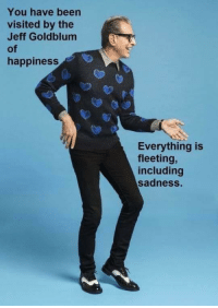 Happiness, uh, finds a way.: You have been  visited by the  Jeff Goldblum  of  happiness  Everything is  fleeting,  including  sadness. Happiness, uh, finds a way.