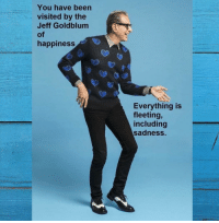 Thank you, Jeff Goldblum via /r/wholesomememes http://bit.ly/2RxD0uZ: You have been  visited by the  Jeff Goldblum  of  happiness  Everything is  fleeting,  including  sadness. Thank you, Jeff Goldblum via /r/wholesomememes http://bit.ly/2RxD0uZ