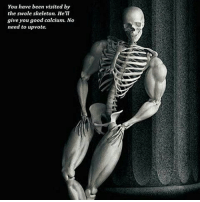 What a generous swole Skeleton: You have been visited by  the swole skeleton. He'll  give you good calcium. No  need to upvote. What a generous swole Skeleton