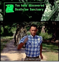 Memes, 🤖, and Following: You have discovered  Deathclaw Sanctuary  Soojust started running Takes me back 😂 via @teamgamingbible follow for more awesome gaming stuff!