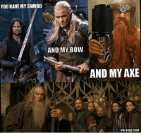 axe: YOU HAVE MY SWORD  AND MY BOW  AND MY AXE  VIA 9GAG.COM