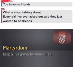 srsfunny:I have so many friends!: You have no friends  ME  What are you talking about  Every girl I've ever asked out said they just  wanted to be friends  Martyrdom  Drop a live grenade when killed. srsfunny:I have so many friends!