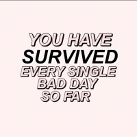 Bad, Bad Day, and Single: YOU HAVE  SURVIVED  EVERY SINGLE  BAD DAY  SO FAR