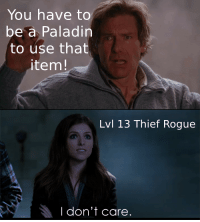 Magic, Rogue, and DnD: You have to  be a Paladin  to use that  item!  Lvl 13 Thief Rogue  I don't care. Oh hey look a magic item