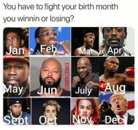 Who you fighting?: You have to fight your birth month  you winnin or losing?  JanFe  ar Apr Who you fighting?