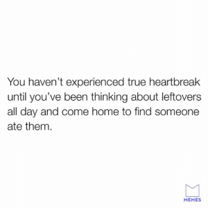 Dank, Memes, and True: You haven't experienced true heartbreak  until you've been thinking about leftovers  all day and come home to find someone  ate them.  MEMES I'll throw hands.