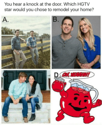 Hgtv: You hear a knock at the door. Which HGTV  star would you chose to remodel your home?  A.  OHYEAANSH!