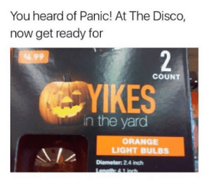 Panic at the Disco: You heard of Panic! At The Disco,  now get ready for  4.99  COUNT  YIKES  in the yard  ORANGE  LIGHT BULBS  Diameter 2.4 inch