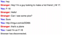 "Dank, Hello, and Meme: You: hey  Stranger: Hey! I'm a guy looking to make a hot friend ;) M 17.  You: F-16  Stranger: Hello!  Stranger: Can I see some pics?  You: Sure  You: http://imgur.com/a/OD165  Stranger: that's a plane  You: I said I'm an F-16  Stranger has disconnected. <p>🅱-16 (by bdog7171 ) via /r/dank_meme <a href=""http://ift.tt/2s2xdNh"">http://ift.tt/2s2xdNh</a></p>"