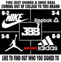 Who are you signing to? 👀: YOU JUST SIGNED A SHOE DEAL  COMING OUT OF COLLEGE TO THIS BRAND  0-2  3-4  Reebok  5-6  8-9  @SPORTS Ididas  LIKE TO FIND OUT WHO YOU SIGNED TO Who are you signing to? 👀