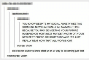 Best Friend, Future, and Meme: YOU KNOW DESPITE MY SOCIAL ANXIETY MEETING  SOMEONE NEW IS ACTUALLY AN AMAZING THING  BECAUSE YOU MAY BE MEETING YOUR FUTURE  HUSBAND OR YOUR NEXT MURDER VICTIM OR YOUR  NEW BEST FRIEND OR SOMETHING AND IT'S JUST  REALLY NEAT HOW THAT ALL WORKS OUT  murder victim  did i fuckin stutter u know what ur on ur way to becoming just that  next murder victim More than social anxiety... - Meme Collection