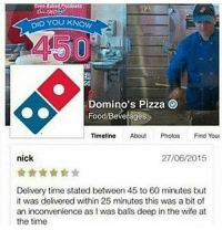 10-10: YOU KNOW  DID Domino's Pizza  Food Beverages  Timeline  About  Photos  Find Youn  nick  27/06/2015  Delivery time stated between 45 to 60 minutes but  it was delivered within 25 minutes this was a bit of  an inconvenience as I was balls deep in the wife at  the time 10-10