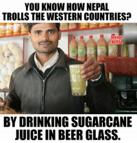 Lulz 😂: YOU KNOW HOW NEPAL  TROLLS THE WESTERN COUNTRIES  meme  NEPAL  BY DRINKING SUGARCANE  JUICE IN BEER GLASS Lulz 😂