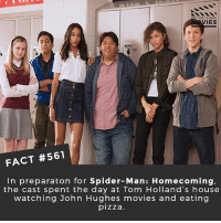 Memes, Movies, and Netflix: YOU KNOW  IES  FACT #561  In preparaton for Spider-Man: Homecoming,  the cast spent the day at Tom Holland's house  watching John Hughes movies and eating  pizza Who is the best lead actor in the MCU right now? 🎥 • • • • Double Tap and Tag someone who needs to know this 👇 All credit to the respective film and producers. movie movies film tv camera cinema fact didyouknow moviefacts cinematography screenplay director actor actress act acting movienight hollywood netflix didyouknowmovies