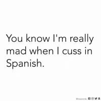Memes, Spanish, and True: You know I'm really  mad when I cuss in  Spanish  @wearemtu K 回  步皋 True. 🖕🏽