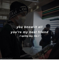 You Know It All You're My Best Friend Spring Day Bts