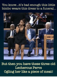 One L: You know...it's bad enough this little  bimbo wears this dress to a funeral..  ONE L  But then you have these three old  Lecherous Pervs  Ogling her like a piece of meat!