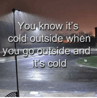 it's cold: You know it's  cold outside when
