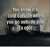"Facebook, Memes, and Free: You know it's  Cold outside when  you go outside and  it's cold Duh!  *If you liked this post feel free to Share & ""Like"" our Facebook page for more just like it... And for high-quality Firearms, Self Defense and Survival content - Subscribe to our Free online MCS Magazine here: http://mcs-mag.com/fb/mcs-mag-subscribe Enjoy!"