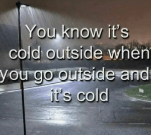 I Mean, We're Not Going to Believe the Weather Channel Now Are We? by TheShadowJester99 FOLLOW 4 MORE MEMES.: You know it's  cold outside when  you go outside and  it's cold I Mean, We're Not Going to Believe the Weather Channel Now Are We? by TheShadowJester99 FOLLOW 4 MORE MEMES.