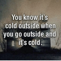 Memes, Cold, and 🤖: You know it's  Cold outside when  you go outside and  its cold liek if ur mind iz blown