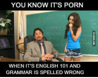 Porn Memes: YOU KNOW IT'S PORN  WHEN IT'S ENGLISH 101 AND  GRAMMAR IS SPELLED WRONG