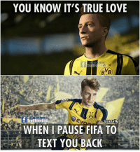True love 🎮😜: YOU KNOW IT'S TRUE LOVE  BVB)  BVB  f Troll Football  #IBRAHIM  WHEN I PAUSE FIFA TO  TEXT YOU BACK True love 🎮😜