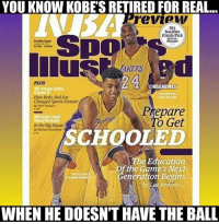 The end of an era.: YOU KNOW KOBESRETIRED FOR REAL...  review  SI's  Surefire  Finals Pick  Double Insue  Thunder  24  @NBAMEMES  40 Years After  How Reds Red Sax  Changed Sports Former  Prepare  o Get  Inthe Big House  SCHOOLED  The Education  the Game's eneration Begins  Jenkins,  WHEN HE DOESNTHAVE THE BALL The end of an era.