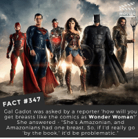 "Memes, Movies, and True: YOU KNOW  MOVIES  FACT #347  Gal Gadot was asked by a reporter 'how will you  get breasts like the comics as Wonder Woman?'  She answered - ""She's Amazonian, and  Amazonians had one breast. So, if l'd really go  by the book,' it'd be problematic."" So I looked this up - it's thought that Amazonian women would cut off their breasts so they could use spears or shoot a bow more easily. Some historians say it's true, others say they've disproved it. Either way it's a great come back @gal_gadot ! 🙌 🎥 • • • • Double Tap and Tag someone who needs to know this 👇 All credit to the respective film and producers. movie movies film tv camera cinema fact didyouknow moviefacts cinematography screenplay director actor actress act acting movienight cinemas watchingmovies hollywood bollywood didyouknowmovies"