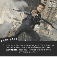 Who is your favorite original Avengers?🎬🎥 • • • • Double Tap and Tag someone who needs to know this 👇 All credit to the respective film and producers. Movie Movies Film TV Cinema MovieNight Hollywood hawkeye jeremyrenner theavengers avengers infinitywar avengersinfinitywar marvel: YOU KNOW  MOVIES  FACT #992  To prepare for the role of Agent Clint Barton  otherwise known as Hawkeye, in The  Avengers, Jeremy Renner trained with  Olympic archers Who is your favorite original Avengers?🎬🎥 • • • • Double Tap and Tag someone who needs to know this 👇 All credit to the respective film and producers. Movie Movies Film TV Cinema MovieNight Hollywood hawkeye jeremyrenner theavengers avengers infinitywar avengersinfinitywar marvel