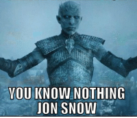 YOU KNOW NOTHING  JON SNOW WhiteWalkers be like...
