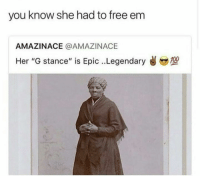 "Anaconda, Blackpeopletwitter, and Free: you know she had to free em  AMAZINACE @AMAZINACE  Her ""G stance"" is Epic..Legendary  @,型  100 <p>Who did it better? (via /r/BlackPeopleTwitter)</p>"