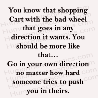 Memes, 🤖, and Push: You know that shopping  Cart with the bad wheel  that goes in any  direction it wants. You  should be more  like  that...  Go in your own direction  no matter how hard  someone tries to push  you in theirs.