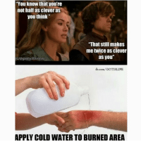 """Memes, fb.com, and Water: """"You know that you're  not half as clever as  you think""""  """"That still makes  me twice as clever  as you""""  IG/@gaemof thrones  fb.com/GOTISLIFE  APPLY COLD WATER TO BURNED AREA Daammn 🔥 Who's your fav Lannister? 👀"""