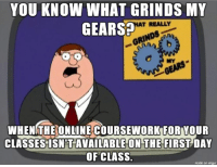 Today is the first day of class for this semester at my college. All the classwork is online.: YOU KNOW WHAT GRINDS MY  GEARS  T REALLY  RINn  MY  WHENGTHEONUINÉCOURSEWORKFOR YOUR  CLASSES ISN'T AVAILABLE ON THE FIRST DAY  OF CLASS.  made on imgur Today is the first day of class for this semester at my college. All the classwork is online.