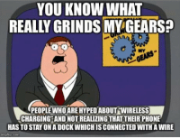 laughoutloud-club:  Is it just me?: YOU KNOW WHAT  REALLY GRINDS MY GEARS  NY  PEOPLEWHO ARE HYPED ABOUT WIRELESS  CHARGING AND NOT REALIZING THAT THEIR PHONE  HAS TO STAY ON A DOCK WHICH IS CONNECTED WITH A WIRE  mglap.com laughoutloud-club:  Is it just me?
