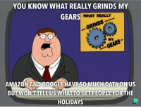 Please, just a hint.: YOU KNOW WHAT REALLY GRINDS MY  GEARS WHAT REAL  MY  AMAZON AND GOOGLE HAVE SO MUCH DATA ON US  BUT WONTTELLUS WHATTO GET PEOPLE FORTHIE  HOLIDAYS Please, just a hint.
