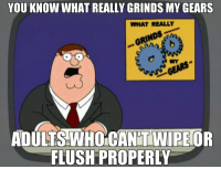 Is this not common knowledge?: YOU KNOW WHAT REALLY GRINDS MY GEARS  WHAT REALLY  GRINDS  MY  AOR  DULTS WHOCAN'T WIPE  FLUSH PROPERLY Is this not common knowledge?