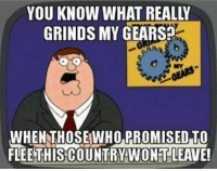 grind my gears: YOU KNOW WHAT REALLY  GRINDS MY GEARS?  WHEN THOSE WHO PROMISED TO  FLEETHISCOUNTRYWONTLEAVE!