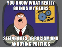 what grinds my gears: YOU KNOW WHAT REALLY  GRINDS MY GEARSs  MY  SEEINGILOTSOFİRACISM AND  ANNOYING POLITICs  made on imgur what grinds my gears