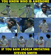 Memes, Saw, and Awesome: YOU KNOW WHO IS AWESOME  Star  Star  IF YOU SAW JADEJA IMITATING  STEVEN SMITH