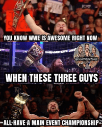 Or should I say.... GLORIOUS 😍😍😍 kevinowens chrisjericho romanreigns braunstrowman sethrollins ajstyles deanambrose randyorton braywyatt tripleh samoajoe charlotte bobbyroode samizayn johncena sashabanks brocklesnar goldberg bayley alexabliss themiz baroncorbin lukeharper wrestlemania wwememes wwememe wwefunny wrestlingmemes wweraw wwesmackdown: YOU KNOW WWE IS AWE SOME RIGHT NOW  IVE  WHEN THESE THREE GUYS  ALL HAVE A MAIN EVENT CHAMPIONSHIP Or should I say.... GLORIOUS 😍😍😍 kevinowens chrisjericho romanreigns braunstrowman sethrollins ajstyles deanambrose randyorton braywyatt tripleh samoajoe charlotte bobbyroode samizayn johncena sashabanks brocklesnar goldberg bayley alexabliss themiz baroncorbin lukeharper wrestlemania wwememes wwememe wwefunny wrestlingmemes wweraw wwesmackdown