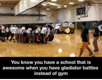 Gladiator, Gym, and School: You know you have a school that is  awesome when you have gladiator battles  instead of gym <p>When Your School Activities Are Awesome</p>